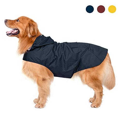 Zellar Hunderegenmantel mit Kapuze & Kragenloch & sicheren reflektierenden Streifen, ultraleichte atmungsaktive 100% wasserdichte Regenjacke mittelgroße Hunde