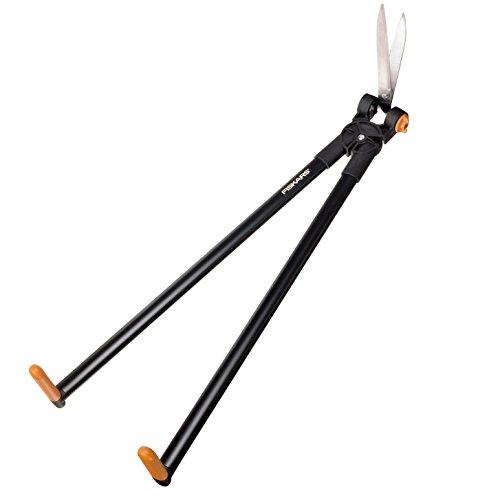 Fiskars Scherenstorch, Multifunktionale Hecken- und Rasenschere, Reichweite bis 2,5 m, Schwarz/Orange, PowerLever, GS53, 1001565
