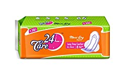24Care Maxi Dry Long Time Comfort Sanitary Napkins Pads - L 235Mm (Pack Of 20 )