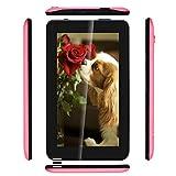 Haehne 7 Pouces Tablet PC - Google Android 6.0 Quad Core, Écran 1024 x 600, 1Go RAM 16Go ROM, Double Caméras 2.0MP+0.3MP, 2800mAh, WiFi, Bluetooth, Rose