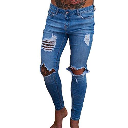 design elegante migliore qualità Jeans skinny uomo Jeans skinny stretch nero Pantaloni skinny denim  strappati a vita alta New Fashion Handsome Cool