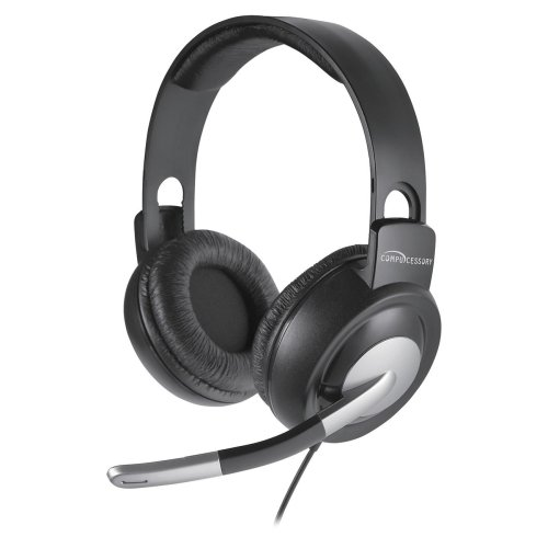 Multimedia Stereo Headset, Mic, 8'L Cord, Gray/Silver, Sold as 1 Each