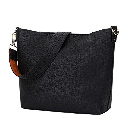 DISSA VS865 neuer Stil PU Leder Deman 2018 Mode Schultertaschen handtaschen Henkeltaschen,350×120×270(mm) Schwarz