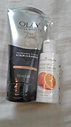Oil of Olay Face Wash Total Effects Citrus Facial Cleanser 6.5 Oz with Organic Health Vitamin C Face Lotion 2 Oz Bundle