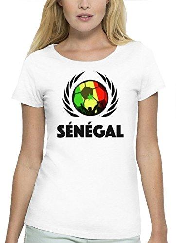 ShirtStreet Wappen Fussball WM Premium Fanfest Damen T-Shirt Bio Baumwolle Stanley Stella Fußball Senegal White