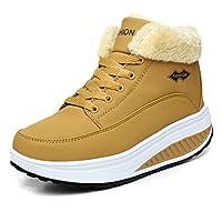 Botas cálidas para la nieve de las mujeres Botas de invierno casuales Zapatos de algodón con parte inferior gruesa Calzado casual de la madre cálida antideslizante ( Color : Amarillo , tamaño : 39 )