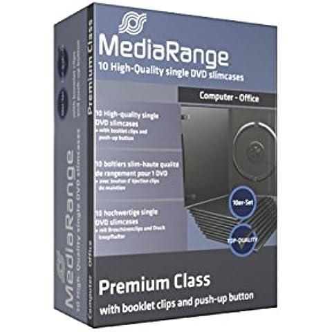 10 custodie Mediarange per cd e dvd, 7mm slim con tasca trasparente per copertina come film e videogiochi di alta qualità