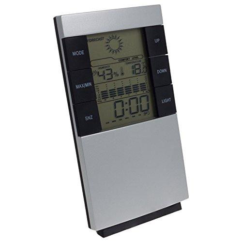 Smartfox Digitale Wetterstation mit Uhr Datumsanzeige Thermometer Hygrometer Wecker mit blauer Hintergrundbeleuchtung