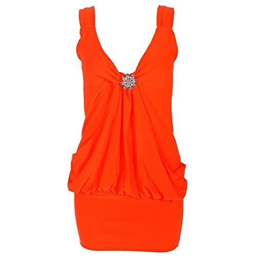 Drapé Broche pour femme Mini robe en haut pour femme Robe Tailles 8 à 20 Orange - Orange fluo