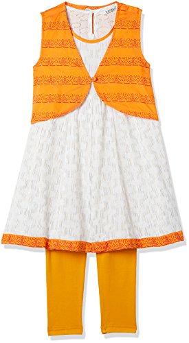 Karigari Girls' A Line Regular Fit Cotton Salwar Suit Set (272486500_WHITE_02Y)
