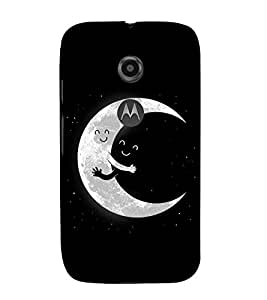 FUSON Moon Hug Night 3D Hard Polycarbonate Designer Back Case Cover for Motorola Moto E2 :: Motorola Moto E Dual SIM (2nd Gen) :: Motorola Moto E 2nd Gen 3G XT1506 :: Motorola Moto E 2nd Gen 4G XT1521