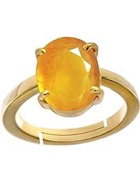 Yellow Sapphire Pukhraj 5.6 Ct. Or 6.25Ratti Stone Panchdhatu Adjustable Ring For Women By AKSHAY GEMS