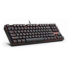 Redragon Tastiera Gaming Meccanica Rosso Illuminata K552 KUMARA 87 Tasti Tastiera Meccanica con Interruttori Blu per PC Design Compatto da Gioco (Layout QWERTY USA - Illuminazione A LED Rossi)