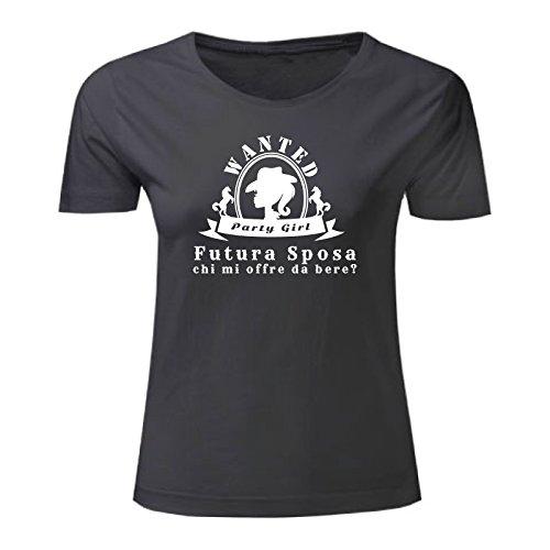 Art T-shirt, Maglietta Futura Sposa, Donna Nero