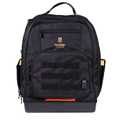 Robuster Werkzeug-Rucksack - 68 Taschen & Utensilien inklusive Laptophülle - robuste Werkzeugtasche für Bauunternehmer, Elektriker, Klempner, HVAC