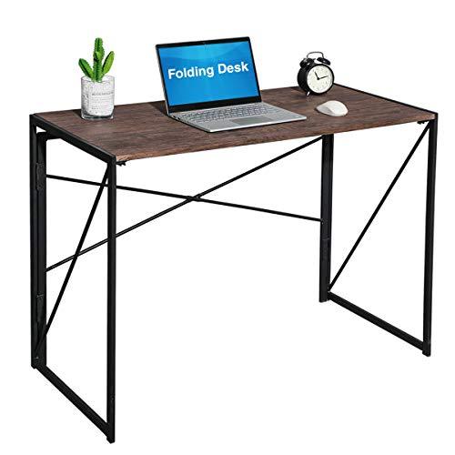 Coavas Klappbar Computer Schreibtisch Büro Schreibtisch Faltbar PC Tisch Industrial Style Klapp Laptop Tisch Notebook Schreibtisch für Home Büro Brown - Home Büro-schreibtisch,