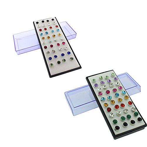 Set di 80 (40 Paia) di Orecchini a Bottone da 5mm Con Pietra in Diamante Sintetico Multicolore - 20 paia per set - firmato Kurtzy TM. - 5 Orecchini Di Pietra