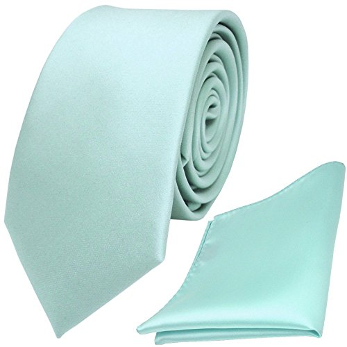 schmale TigerTie Schlips Krawatte + TigerTie Einstecktuch mint blassmint grün uni Binder Polyester (Einstecktuch Mint-krawatte Und)