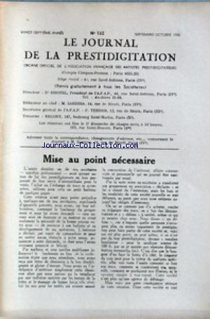 JOURNAL DE LA PRESTIDIGITATION [No 132] du 01/09/1946 - MISE AU POINT NECESSAIRE.