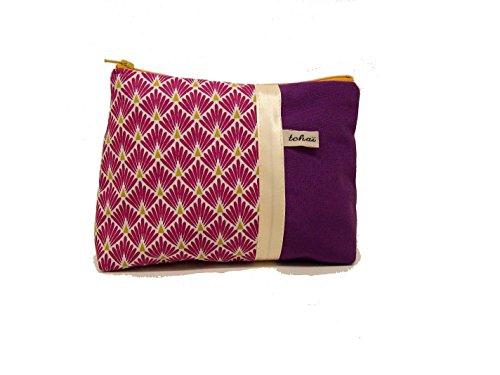 pochette maquillage violet a motifs art déco , trousse violette en toile et tissu style scandinave , fourre tout zippé , cadeau femme