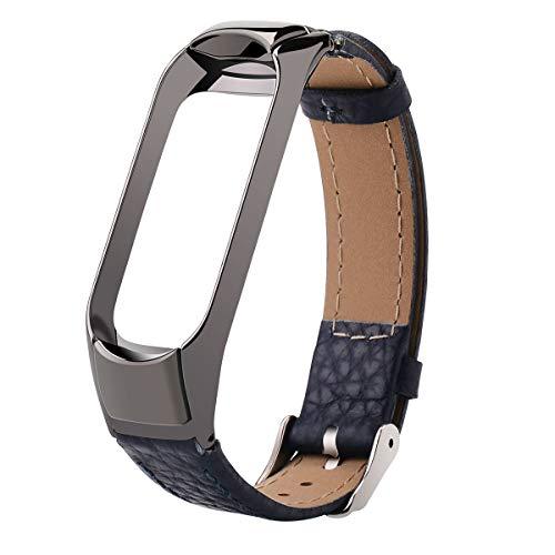 Hangrui Cinturino per Xiaomi Mi Band 3 Strap, Mi Band 3 Bracciale in Pelle Wristband di Ricambio Bracciale da Polso Braccialetto Extendable for Xiaomi Mi Band 3- No Tracker (Blue)