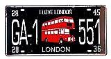 MI RINCON Placa de matrícula Vintage Motivo I Love London para Decorar la Pared del hogar, Tienda, Garaje, Bar, Pub