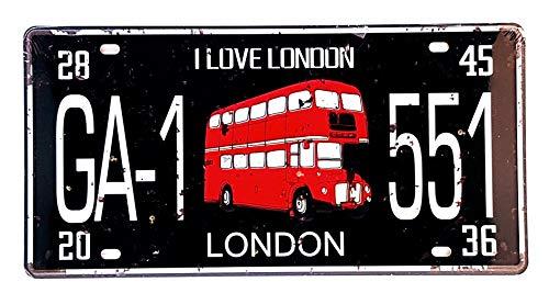 MI RINCON Placa matrícula Vintage Motivo I Love London