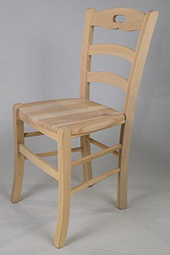 Set 2 sedie cucina e sala da pranzo dallo stile classico, con robusta struttura in legno di faggio levigato, non trattato, 100% naturale e con seduta in legno. set savoie 38 by tommychairs, sedie di design.
