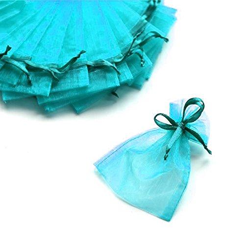 C.x.y. 100 sacchetti organza 7*9cm confetti bomboniera regalo (blu bondi)