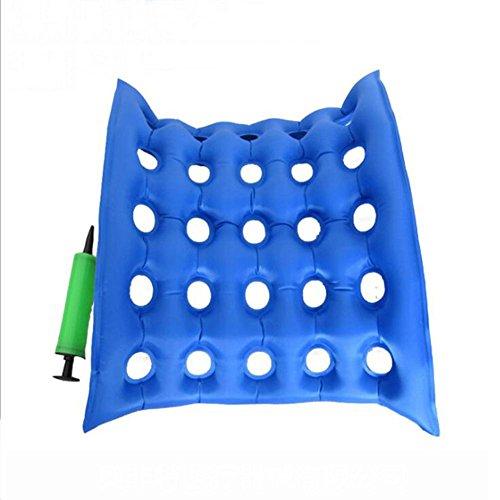 ZWW Haushalt mit quadratischen Loch Medical Wheel Stuhl Luftkissen aufblasbare Sitz Matratze Anti Bedsore Decubitus Rollstuhl Sitz Sitzkissen Luftmatratze für längeres Sitzen , blue