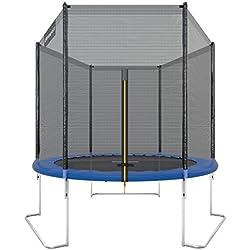 Ultrasport Outdoor Trampoline de Jardin Jumper, Set pour Trampoline avec Tapis de saut, Filet de sécurité, Barres du filet Rembourrées et Revêtement pour les Bords, jusqu'à 120kg, Bleu, Ø 180 cm