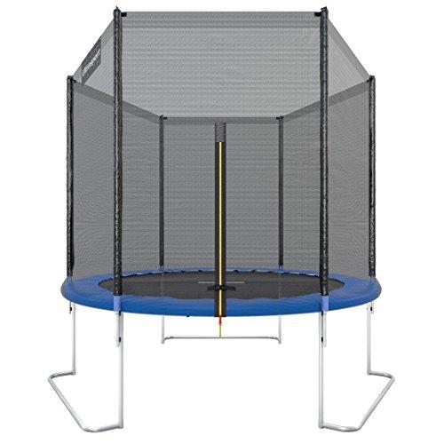 Ultrasport Trampolino da giardino Jumper, set trampolino per Il Salto inclusi tappeto elastico, rete di sicurezza, pali della rete imbottiti e rivestimento dei bordi, fina a 120kg, Blu, Ø 180 cm