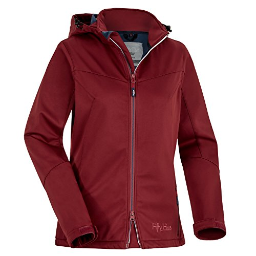 Fifty Five Damen Softshelljacke Winterjacke Saint Anne Rot 42 Warme Outdoorjacke mit Kapuze Winddicht Wasserfest Atmungsaktiv