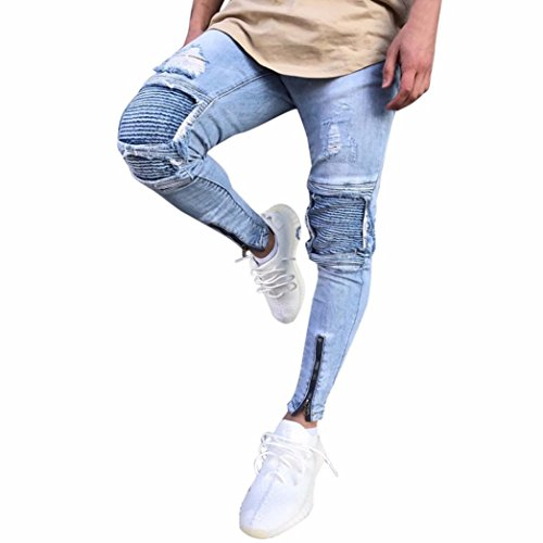 Princer Mens Jeans, Ripped Destroyed Blue Slim Fit Distressed Holes Trousers,Motorcycle Vintage Denim Pants