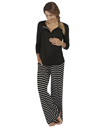 The Essential One - Womens Maternity Long-Sleeve Black Stripe Nursing Pyjamas - Black - EOM203