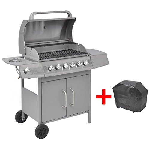 vidaXL Portable Gas Barbecue BBQ Grill 6+1 Burners Cooker Outdoor Garden Patio w/ Cover