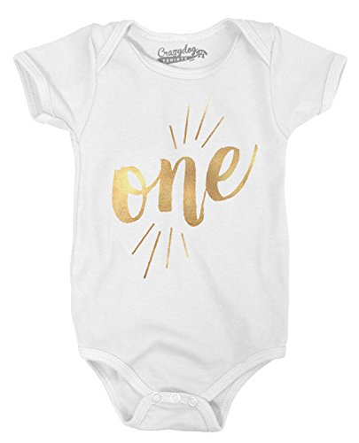 Crazy Dog Tshirts Baby One Year Old Gold Shimmer Cute Birthday Celebration Infant Creeper Bodysuit (White) 6-12 Months - Baby-Jungen - 6-12 Months (Baby Creeper Infant)