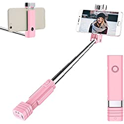 Atongm Bastone selfie Bluetooth Selfie Stick, Mini Selfie Sticks per iPhone X/8/8Plus/7/7Plus/6/6Plus/6s/6s Plus/5S, Galaxy S5/S6/S7/S8, Google, Huawei e Altro (Rosa)