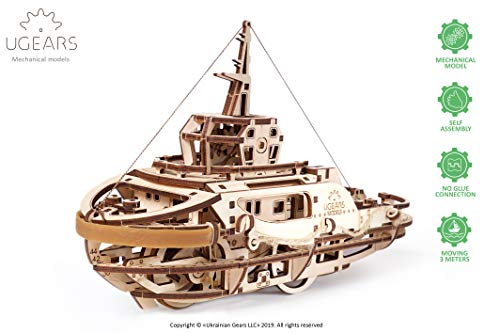 UGEARS mechanischer Schleppschiff 3D Puzzle Kit Bewegliches Schlepper Holzpuzzle Bastelset und Denkaufgabe für Erwachsene | DIY Puzzle Lernspielzeug und Holzbausatz für Kinder