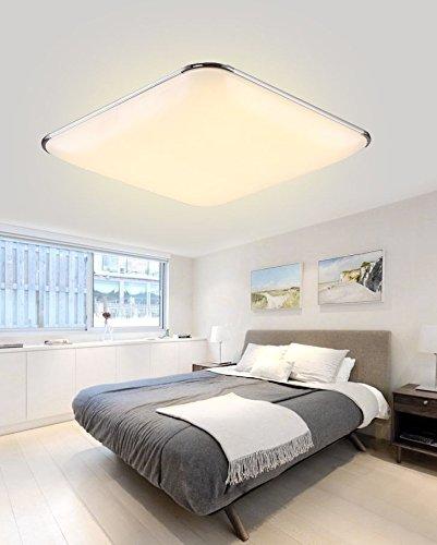 SAILUN 24W Warmweiß Ultraslim LED Deckenleuchte Modern Deckenlampe Flur Wohnzimmer Lampe Schlafzimmer Küche Energie Sparen Licht Wandleuchte Farbe Silber (24W Silber Warmweiß)