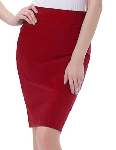Frauen Vintage 50er Jahre Abend Business Party Formelle Bodycon Röcke Rot (KK269-3) Small -