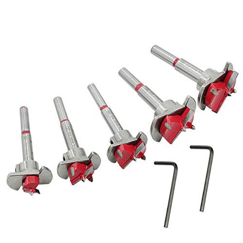 5Pcs 15-35mm Forstner Drill Bit Set, Woodworking Hinge Cutter with with Core Tip Drilling Tool