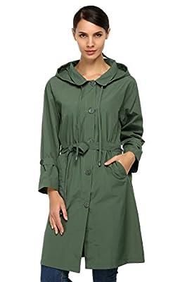 Women Waterproof Lightweight Trench Coat Hooded Coat with Belt