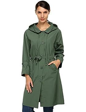 CRAVOG Damen Regenmantel Regenjacke Raincoat Wasserdicht mit Kapuze Jacken Mäntel