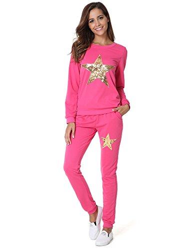 Hownew-X Damen Schlafanzüge mit Sterne Muster Elegant Pyjama Oberteile und Hose Set Jogginganzug Tracksuit Set (M, Rosa) (Frottee-kleid Rosa)