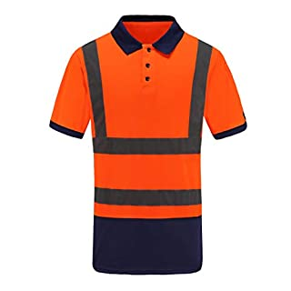 AYKRM Hi-Vis Viz Visibility Safety Work Polo Shirt hi vis Polo Shirt (Orange, M)