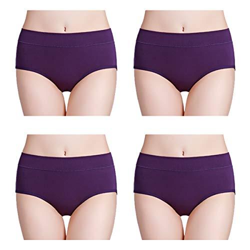 wirarpa Pantys Damen Baumwolle Unterhosen 4er Pack Frauen Unterwäsche Elastan Panties Lila Größe XL (Lange Baumwoll-höschen Frauen)