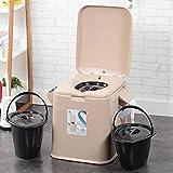 Duogn Portable Camping igienici WC 5L Potty Loo Rimovibile con la Copertura per Interni ed Esterni Loo USA Caravan,Marrone