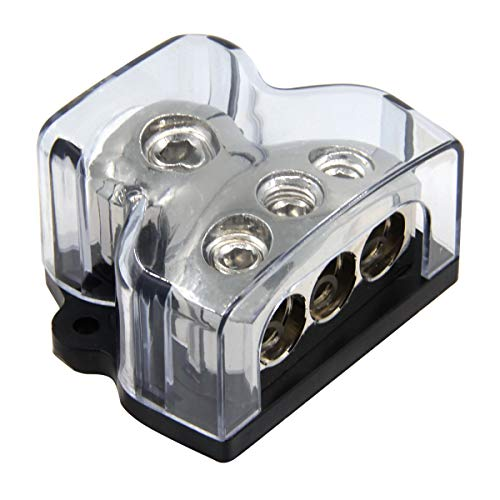 RKURCK 1x0GA in 3x4GA out Power Distribution Block für Autoradio-Stereo-Verstärker Verteileranschlussblock für Audio-Splitter (1 in 3 out) - Distribution Block