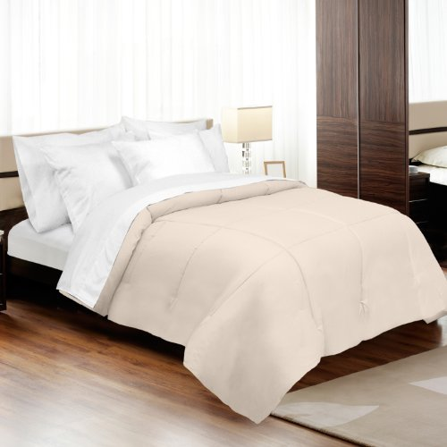 veratex Luxus Weich Moderner Stil 800 Fadenzahl 100% Baumwolle Satin Shell Down Alternative Schlafzimmer Tröster, Full Size, Elfenbeinfarben (Full-size-tröster-sets)